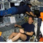 astronauts working aboard Columbia shuttle